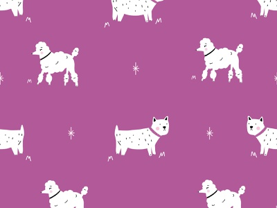 Cute Dog and Poodle Purple Pattern character illustrator ai purple patterns vector repeat seamless pattern animal dog canine poodles animals dogs illustration