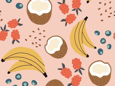 Pink Smoothie fruit seamless repeat vector Pattern with fruit illustration art patterns illustrator ai illustration vector repeat vector art seamless fruits tropical pink blueberry banana smoothie fruit
