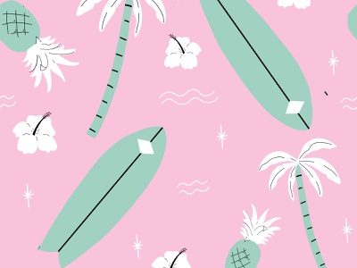 Pink Beach Seamless Surf Pattern illustration vector flower pineapples pineapple water waves hawaii board surf trees palm tropical beach repeat seamless pattern