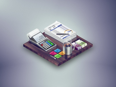 Accounting office money papers coffee mug desk finance accounting calculator isometric illustration web icon