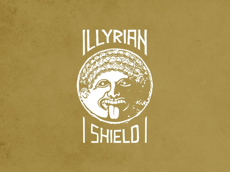 Illyrian Shield Logo logotype lettering case portrait shield illyrian design mark phone illustration brand symbol logo