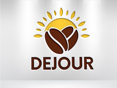 Logo for a coffee or named DEJOUR coffebeen morning sunrise sun graphic design logo design branding coffee brand