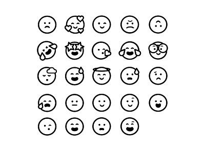Cute Simple Emojis expressions faces emoji emojis icon vector illustration