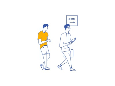Standing in the queue vector illustration