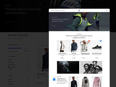 Sportswear Website ui web design sportswear web design