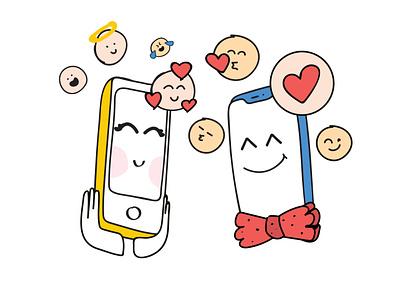 Gadgets In Love vector illustration
