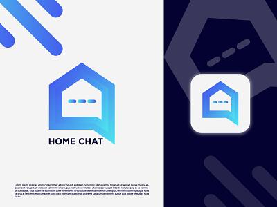 Modern minimal home chat logo design logos icon app design finance flat design flat logo designer home dacor real estate home logo chatlogo design vector brand identity brand design minimal designer branding logo graphic design