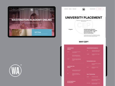 Washington Academy brand typography online university english course school ipad tile homescreen about homepage page ux website builder abroad education website academy