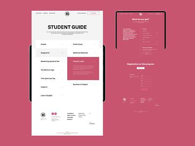 Washington Academy pages mobile tablet tile courses website online education profile interface uiux ui design
