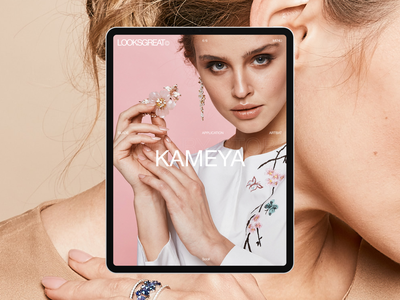 LOOKSGREAT© trend blocks tablet mobile about jewelry website studio design typogaphy ux page builder client project cases page case homescreen hero slider