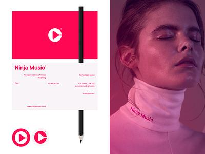 Ninja Music brand document identity hand typography logo branding mockup tshirt play girl swiss track singer lable artist music promo cards busines