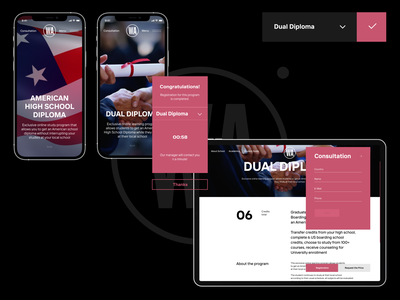 Washington Academy Online typography homescreen trends 2021 viewer dropdown buttons website scroll online education school mobile tablet popup interface course form ux ui