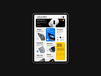 Apple Point® 2019 clean minimal flat divice homescreen homepage dayliui uiux ui ipad iphone apple fix online shop store pixels 768 tablet