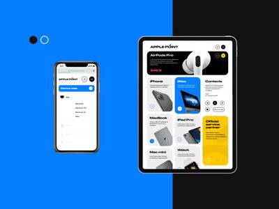 Apple Point® homescreen menu screen mobile adaptation ipad iphone apple dayliui uiux ui centre service repair fix online store clean 2019 design