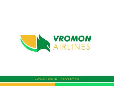 Vromon Airlines Logo Design bird logo wings logo vector logo branding brand logo logotype logo inspiration logofolio logologo type logo design airlines logo travel airlines logo vromon airlines logo