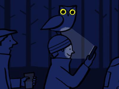 Nightwalkers owl night walking hand drawn illustrator illustration