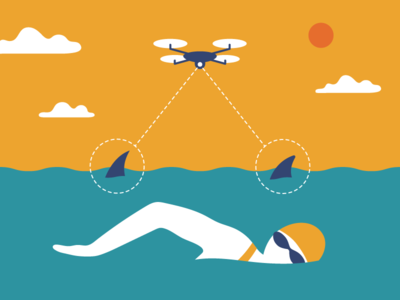Shark detecting drones shark drone character design design illustrator illustration