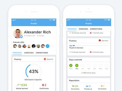 busuu - Profile profile progress data dashboard busuu redesign stats language learning