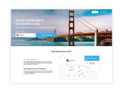 Landing Page homepage landing page ui language learning education languages busuu web learning