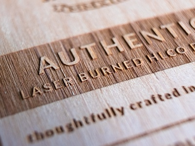 Detail shot of a wood certificate