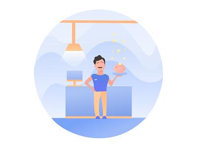 Saving money coin pig mustache saving bank illustration