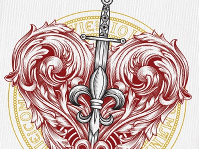 Magna Carta Ace of Hearts heart sword ace luxury playing cards designer playing cards medieval flourish ink illustration magna carta seasons playing cards fleur-de-lis