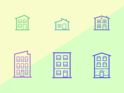 Housies illustration icons apartment house home