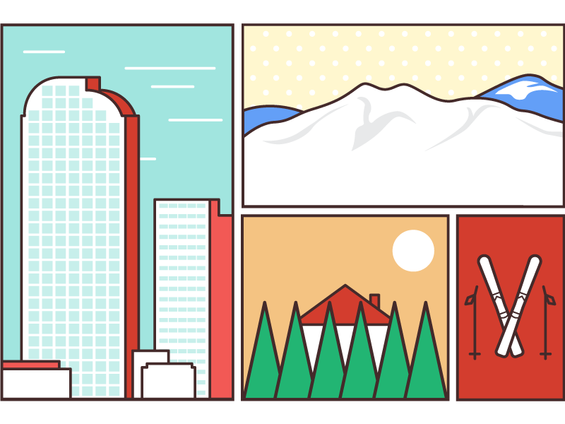 Denver Pop colorful layout box skyline nature snow illustration