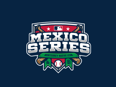 Mexico series type sports mayorleague sketch letters lettering patch logos badge baseball