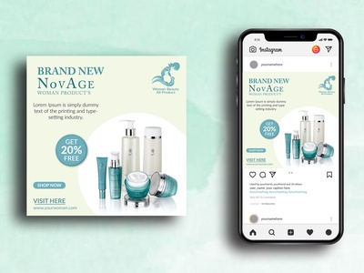 Woman Beauty Product Social Media Post Design instagram stories ad design ads product marketing marketing product beauty product design web banner social media banner social media post vector branding instagram post