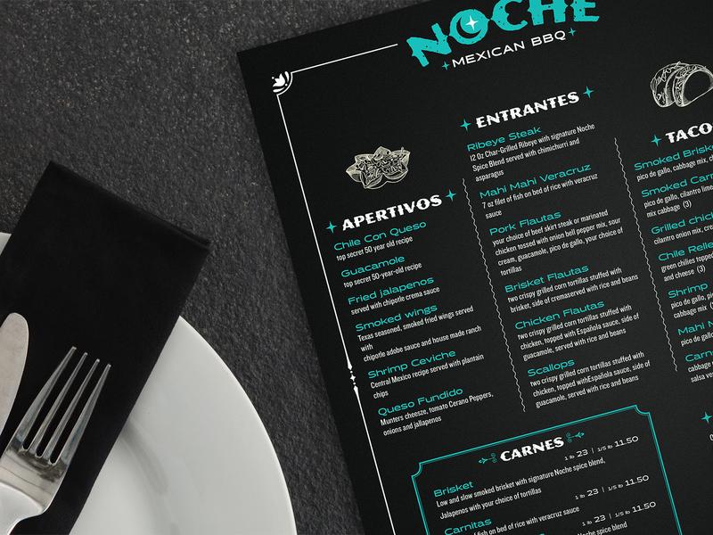 Noche  Food Menu food illustration foodie food and drink restaurant logo menu design restaurant branding