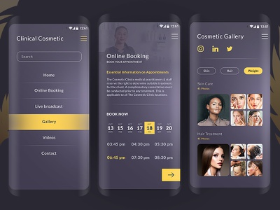 Cosmetics Clinic interaction conference call uiux payment method branding chat cosmetic application design user experience video meeting ux ui interactive design mobile app booking prototype application clean interface app workflow
