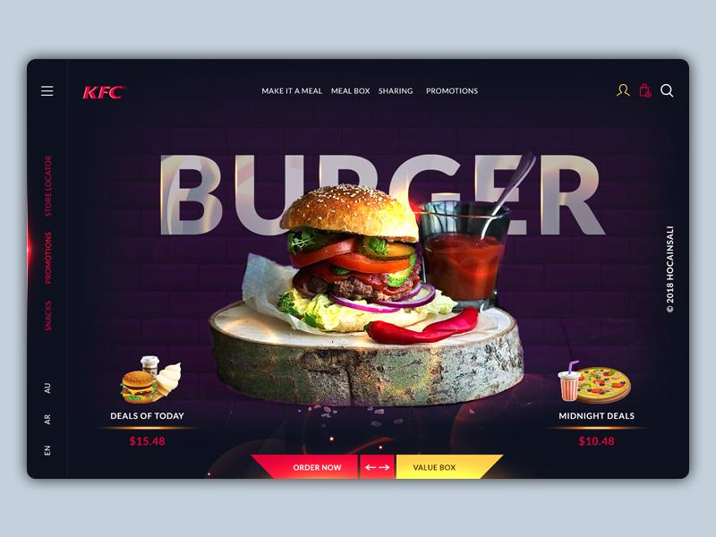 KFC Concept Design design uiux website landing page creative design flat web deals creative minimalistic app branding color light burger ui ux re design restaurant kfc