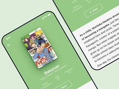 Anime & Manga database App green ios comic ux ui mobile app explore view page detailed anime manga