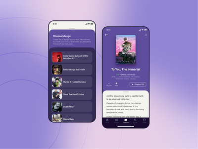 Manga reader App ui ux ios library streaming collection the immortal anime manga reader mobile app