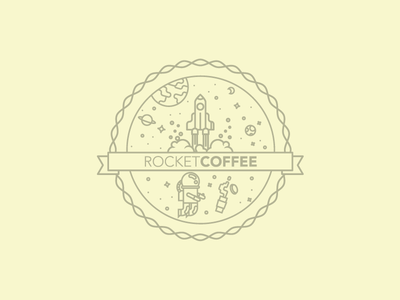 Rocketcoffee Logo Badge logo rocket coffee badge space planets rocket