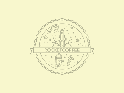 Rocketcoffee Logo Badge logo rocket coffee badge space planets rocket