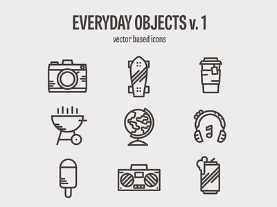 Everyday Icon set - WIP beer gettoblaster icecream headphones globe grill tea skateboard camera icons wip