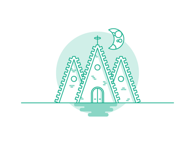 Weekly Challenge: #2 Church 7daystocreate 7 days to create logo church challenge colors flat icon illustration shadows moon