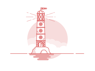 Weekly Challenge: #3 Lighthouse 7daystocreate 7 days to create logo sea red shadows illustration icon flat colors lighthouse challenge