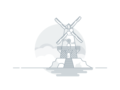 Weekly challenge: #5 Windmill wood windmill challenge colors flat icon illustration shadows logo 7 days to create 7daystocreate