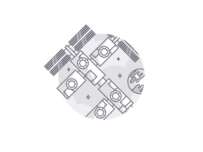 Weekly challenge: #9 Spacestation space station challenge colors flat icon illustration shadows logo 7daystocreate