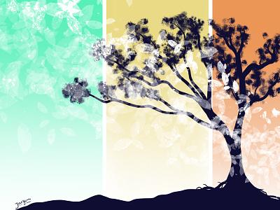 Autumn is around the corner procreate design illustration leaves autumn tree