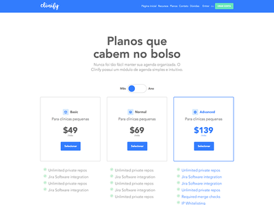 Pricing tables - Clinify price table pricing