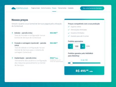 Cortecloud - Tabela de preços tabela de preços pricing pricing tables central de serviços marceneiro cortecloud