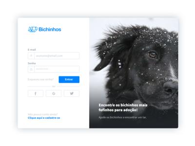Login Bichinhos ux ui user experience user interface register login sign up sign in