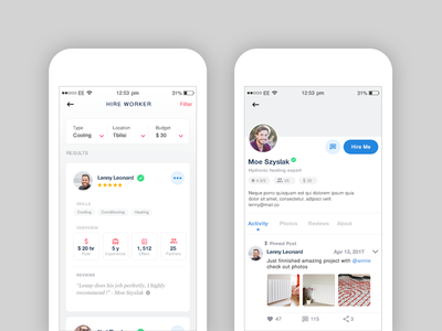 app minimal clean navigation profile ios flat social details android app