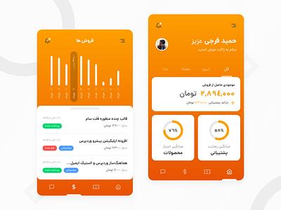 Zhaket Mobile App tabs tab progress bar progressbar ui clean ui mobile ui mobile app design clean report bottom navigation orange chart analytics homepage ticket mobile