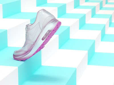 Nike Running neon cgset nike shoe 3ddesign 3dillustration 3d