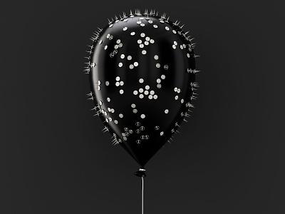 Spiky Balloon cgillustration 3dart light illustration design monochrome bw blackandwhite c4d cgi cg 3ddesign 3dillustration 3d